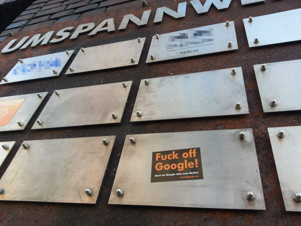 Fuck Off Google sticker on Umspannwerk, Kreuzberg, Berlin
